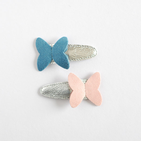 Hello Shiso Butterfly Pink/Blue Hair Clips