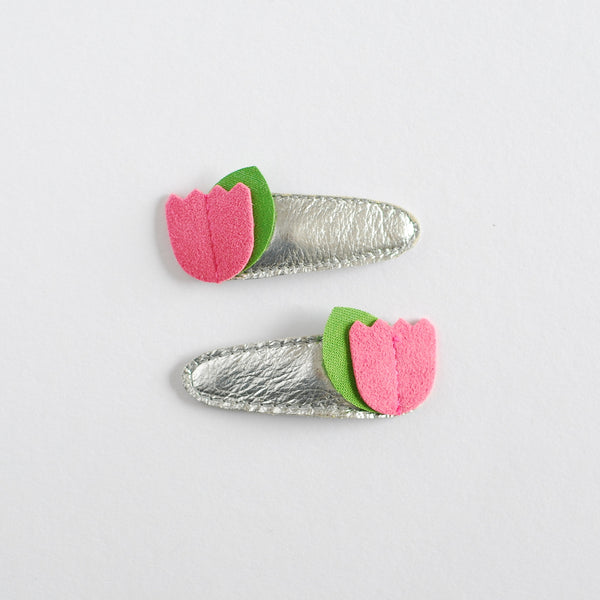Hello Shiso Pink Tulip Hair Clips