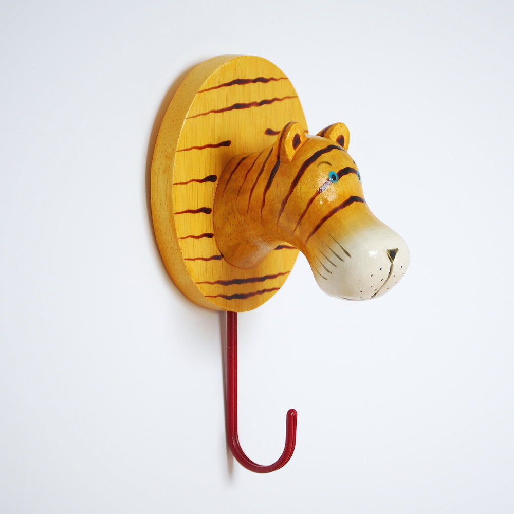 Animals United Large Wooden Wall Hook Tiger