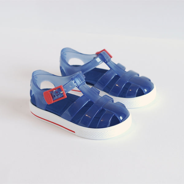 Igor Jelly Shoes Translucent Navy Red Buckle