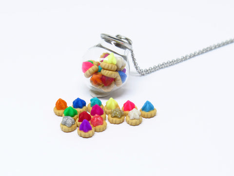 Miniature Asian Chef Iced Gem Globe Necklace