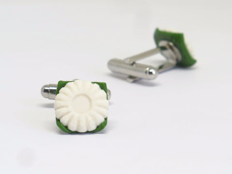Miniature Asian Chef Kueh Tu Tu Cuff Links