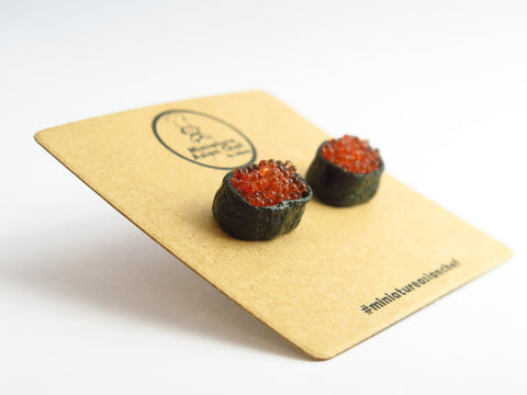 Miniature Salmon Roe Sushi Ear Studs by Miniature Asian Chef