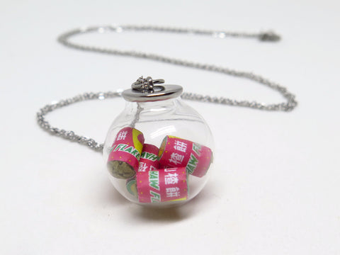 Miniature Haw Flakes In a Globe Necklace