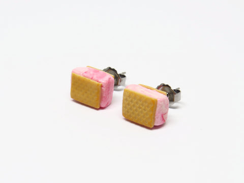 Singapore Miniature Raspberry Ripple Ice Cream Wafer Ear Studs by Miniature Asian Chef