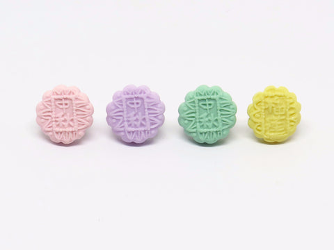 Miniature Snow Skin Mooncake Ear Studs