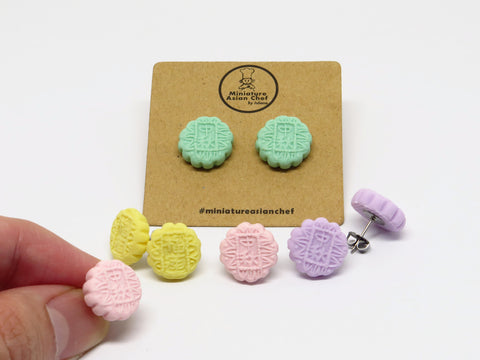 Moon Cake Ear Studs By Miniature Asian Chef
