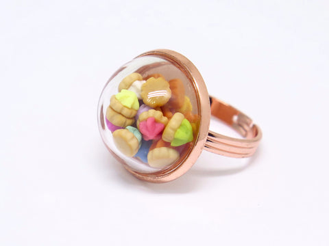 Iced Gem Globe Ring (Rose Gold)