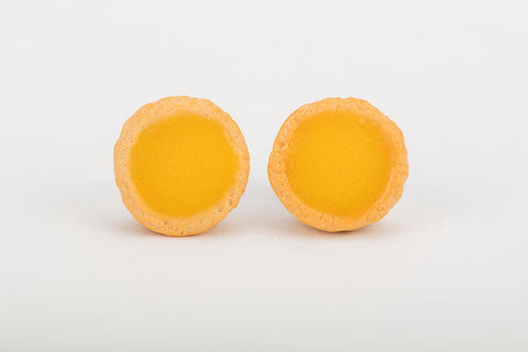 Miniature Food Singapore - Egg Tart Ear Studs by Miniature Asian Chef