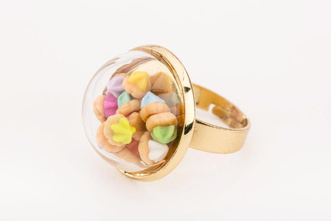 Iced Gem Globe Ring (Gold)