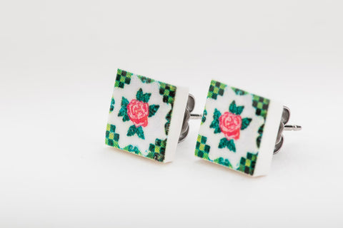 Peranakan Tile earring studs (Green Floral)