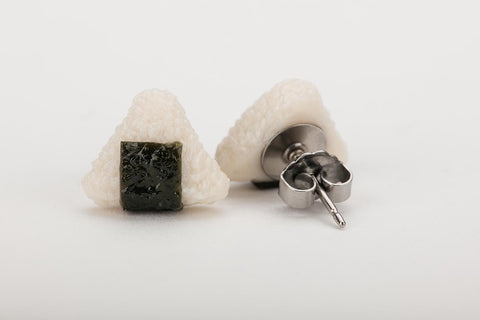 Miniature Onigiri Ear Studs by Miniature Asian Chef