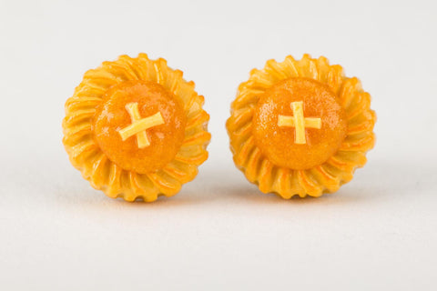Pineapple Tart Ear Studs by Miniature Asian Chef