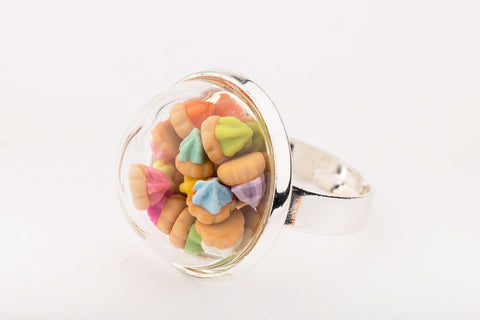 Iced Gem Globe Ring (Silver)