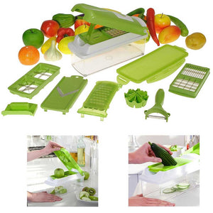 12-Piece Super Slicer Plus Vegetable Fruit Peeler Dicer Cutter Chopper Nicer Grater Set
