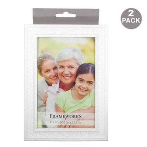 FlashSpree.com: 2-Pack Decorative White Photo Frame by FlashSpree
