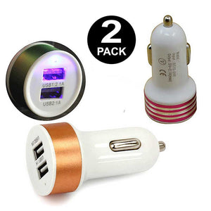 FlashSpree.com: 2-Pack Dual Port USB Car Charger Assorted Color and Design by LAX-MAX