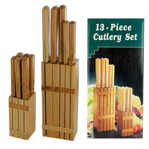 FlashSpree.com: 13-Piece Cutlery Set with Wood Storage Blocks by Handy Helpers