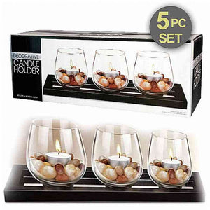 FlashSpree.com: Decorative Candle Holders with Mirror Tray & Stones by Handy Helpers
