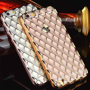 FlashSpree.com: Diamond Type Lattice 3D TPU Electroplate Lambskin Case For iPhone 6/6s Plus by FlashSpree