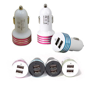 FlashSpree.com: Dual Port USB Car Charger Assorted Color - Stripe Design by LAX-MAX