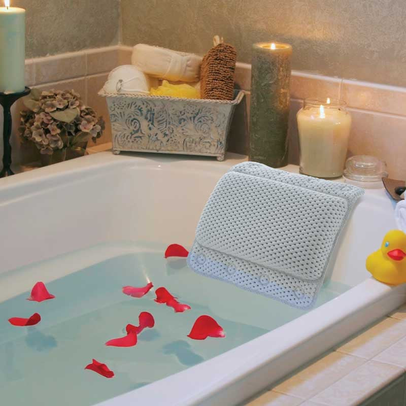 Non-Slip Bathtub Pillow with Suction Cups – FlashSpree.com