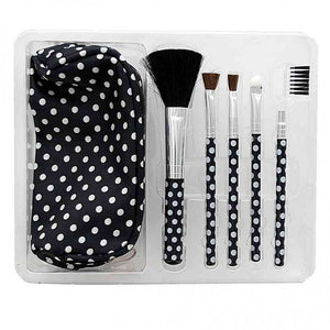 FlashSpree.com: Polka Dot Cosmetic Brush Set with Stylish Bag by Handy Helpers
