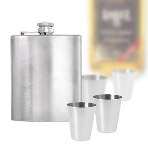 FlashSpree.com: 7-Piece Stainless Steel Flask Set by FlashSpree