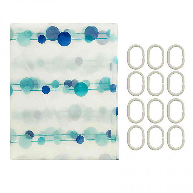 Shower Curtain With Rings Set Blue Turquoise Balls