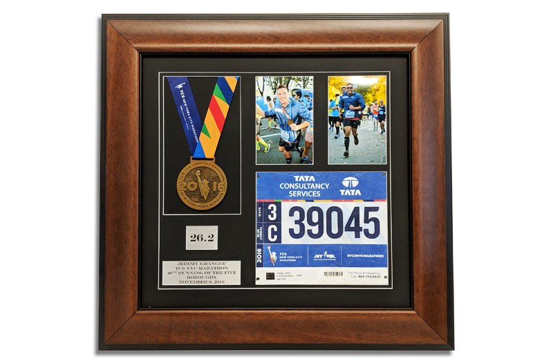 New York City Marathon Medal, Race Bib And Pictures Framed