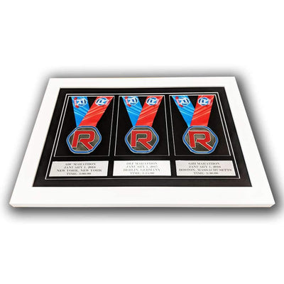 "Race Framers 17"" Wide By 11"" Tall Three Medal Wall Frame With Plaques"