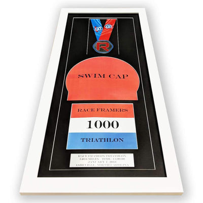 "Race Framers 12"" Wide By 27"" Tall Medal, Swim Cap, Bib And Event Plaque Display Frame"