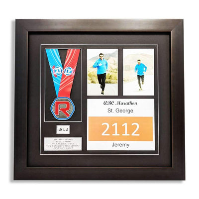 "Race Framers 18"" Wide By 17"" Tall Medal, Two Pictures And Bib Display Frame"