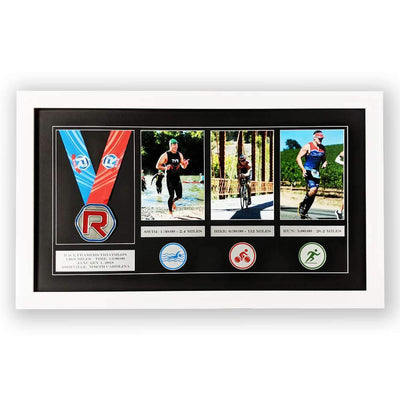 "Race Framers 25"" Wide By 14"" Tall Medal, Three 5"" x 7"" Pics And Event Plaques Triathlon Frame"