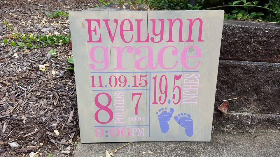 Baby name, date, time and pounds inches 14x14