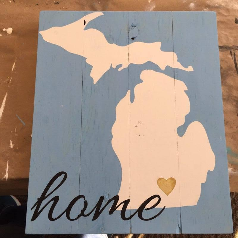 State of Michigan with heart and cursive home 14x17