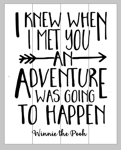 I knew when I met you an adventure was going to happen 14x17