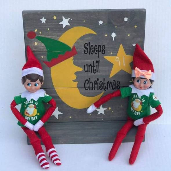 Sleeps until Christmas Chalkboard (Elf on shelf) 10x10
