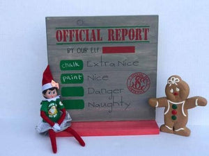 Official report with chalkboard space for elf name (Elf on shelf) 14x14