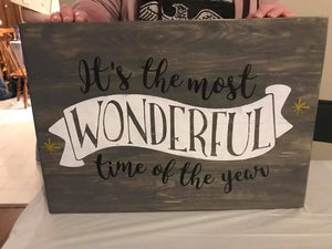 Its the most wonderful time of the year with banner 14x20