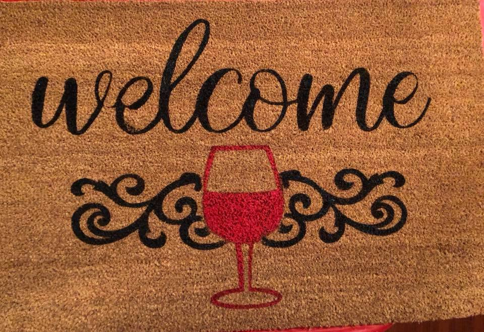 Welcome with wine glass