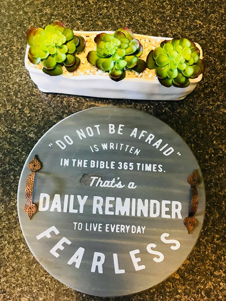"Do not be afraid-15"" round Lazy Susan (handles not included)"