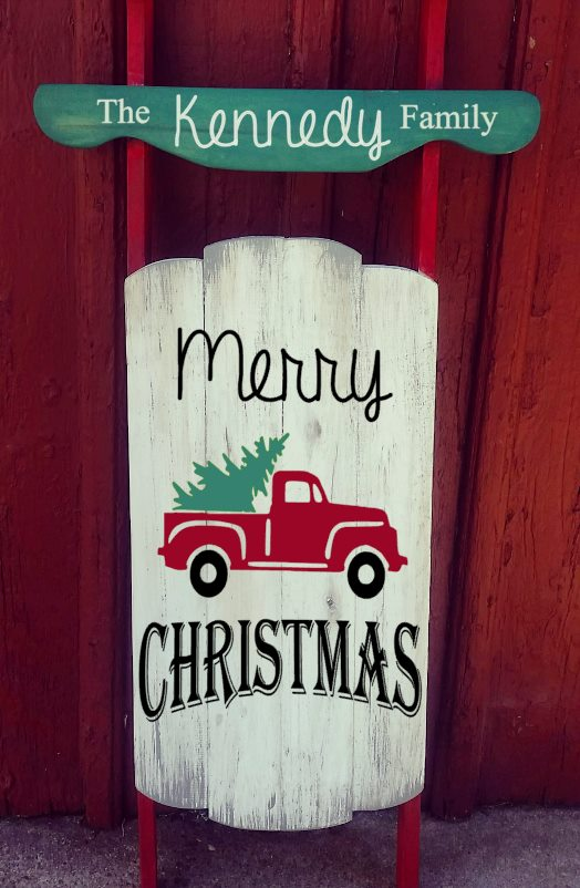 Sled - Merry Christmas with truck and last name on top