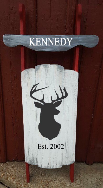 Sled - Last name with deer head and established date