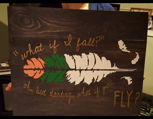 What if I fall? Oh but what it you fly with feather in the middle 14x17