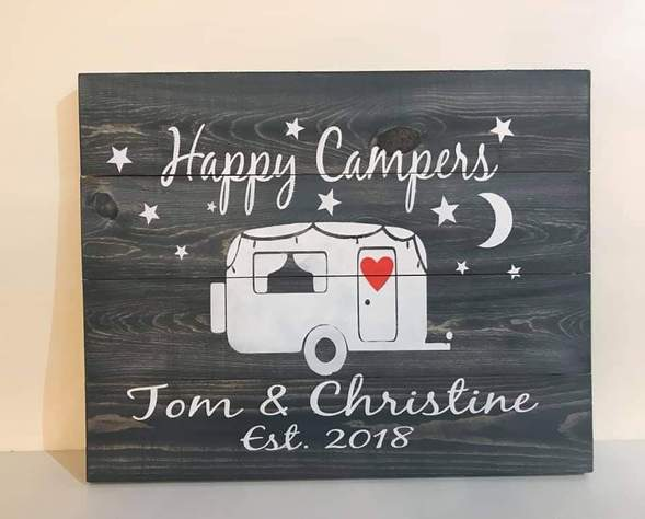 Happy Campers couples name and est date 14x17