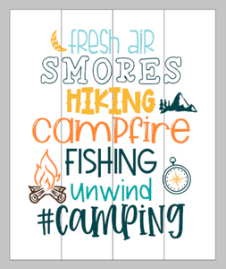 Fresh air Smores Hiking Campfire Subway art 14x17