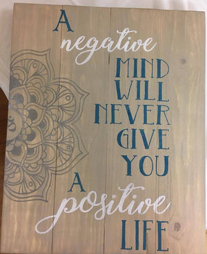 A Negative mind will never give you a positive life 14x17