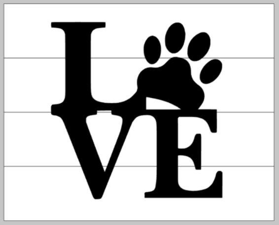 Love- O is paw print 14x14