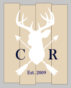 Family initials Est deer with arrows-staggered initials and est date 14x17